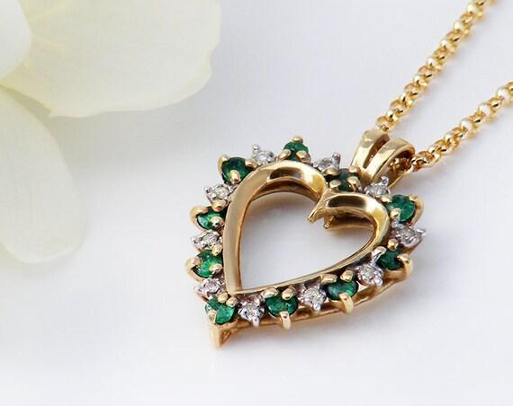 Vintage Emerald & Diamond Heart Necklace | 10K Gold Gemstone Heart Pendant | Love Token Vintage Gift - 20 Inch Chain