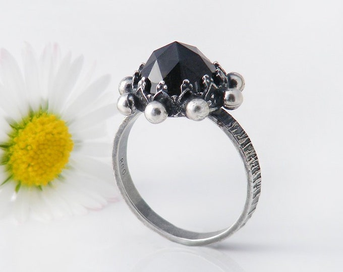 Vintage Black Gemstone Ring | Artisan Made | Victorian Style Black Garnet Ring - US Ring Size 6.5, UK Ring Size N