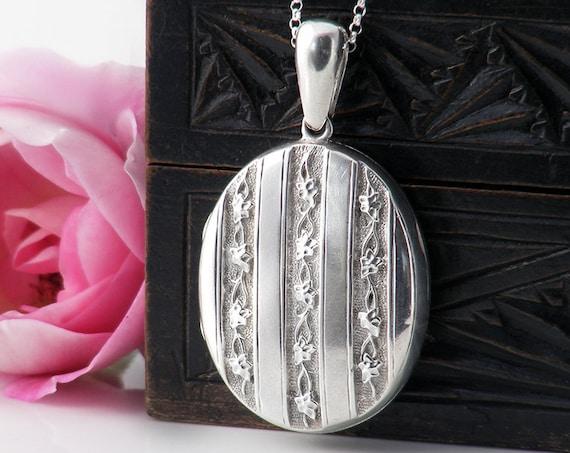 Sterling Silver Antique Locket | Large Oval Victorian Locket | Ivy Leaf for Everlasting Love | Love Token - 30 Inch Long Chain
