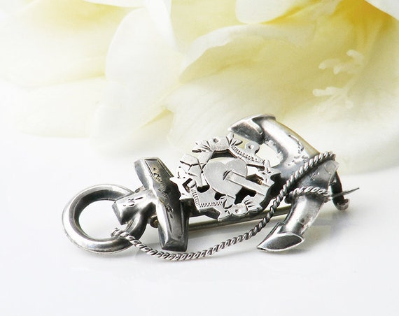 Victorian Sterling Silver Brooch | Antique Faith, Hope & Charity Sailor's Wife Pin | Bouquet Brooch - Something Old.