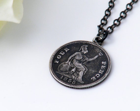 1855 Victorian Sterling Silver Coin Pendant | Fourpenny Groat Coin with Young Victoria & Britannia - 18 Inch Black Chain