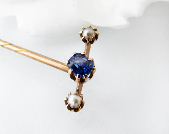 Victorian Stick Pin | Sapphire & Pearl 9ct Gold Antique Pin - Cravat or Lapel Pin, Something Blue