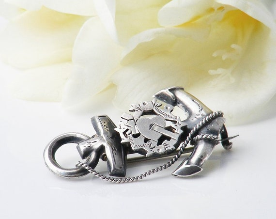 Victorian Sterling Silver Brooch | Antique Faith, Hope & Charity Mariner's Wife Pin | Bouquet Brooch - Something Old.