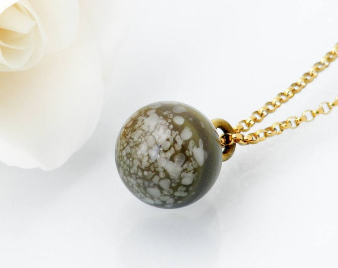 Victorian Drop Pendant | Unique Grey Green Speckled Glass 'Charm String' Necklace, Antique Glass - 18 Inch Chain