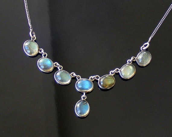 Vintage Labradorite Necklace | Sterling Silver with Electric Blue Flash Labradorite Gemstones - 45cm or 18 Inches Long