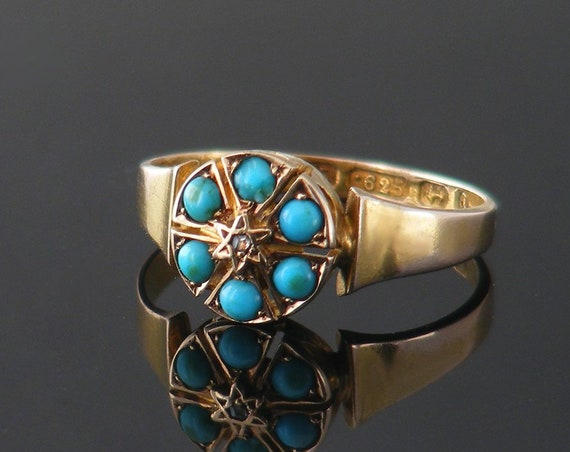 Turquoise 15ct Gold Victorian Ring | English Hallmarked Turquoise & Diamond Antique Engagement Ring | Ring Size US 6.25 | UK Size M 1/2