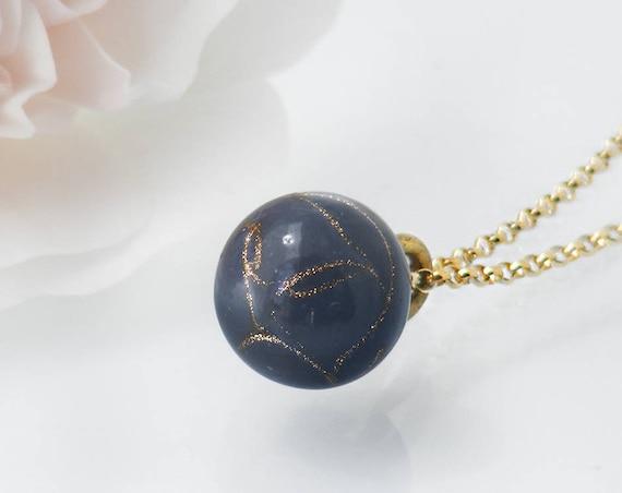 Victorian Drop Pendant | Unique Purple-Grey, Aventurine Glass 'Charm String' Necklace, Antique Pendant - 20 Inch Chain