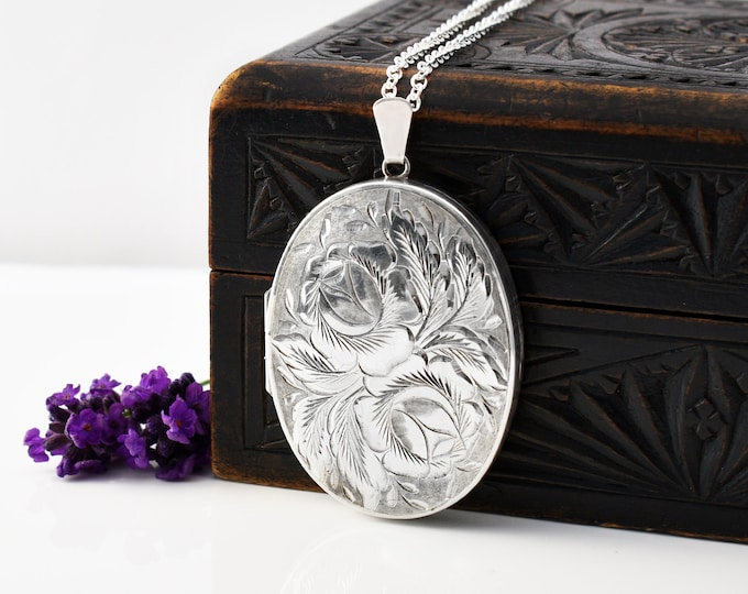 Large Sterling Silver Vintage Locket Necklace with Engraved Cabbage Roses   1979 English Hallmark - 30 Inch Long Chain