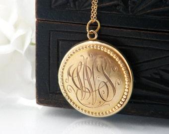 Antique Locket   Monogrammed Gold Edwardian Locket   Wedding Locket Necklace   Rolled Gold   'WS' Initials   Photo Locket - 20 Inch Chain