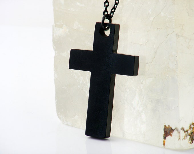 Victorian Whitby Jet Cross | Large Antique Black Cross | Gothic Revival Cross Pendant or Wall Cross - 32 inch Long Black Chain