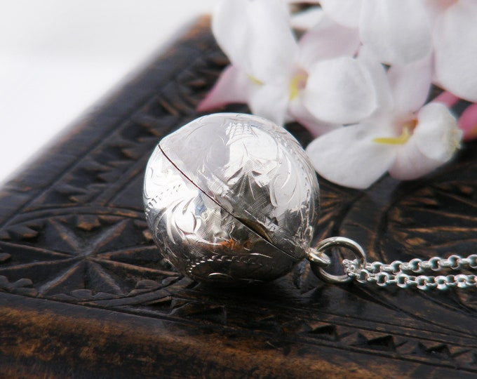 Vintage Ball Photo Locket | Sterling Silver Engraved Orb Locket | 1978 Hallmarked Sterling Silver Sphere - 20 inch Sterling Chain