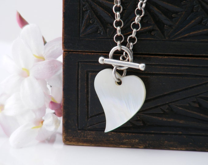 Vintage Heart Pendant | 1988 Sterling Silver Toggle Chain | Mother of Pearl Witch's Heart | 925 Silver - 16 Inch Sterling Rolo Chain