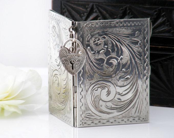 Antique Photo Frame or Locket | Art Deco Era Book Frame | European 800 Silver | Engraved Bedside Photo Frame