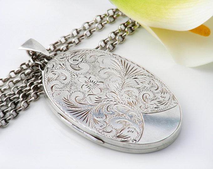 Sterling Silver Vintage Locket | Extra Large Oval Photo Pendant | Forget-me-not & Acanthus Design - 28 Inch Long Vintage Rolo Chain Included
