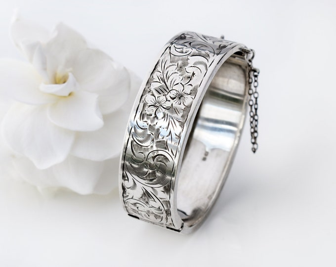 Antique Sterling Silver Cuff Bracelet | 1917 English Hallmark | Hinged Bangle | Forget-me-not Flowers - Small Wrist Size