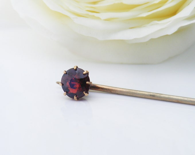 Victorian Stick Pin | 9ct Gold and Garnet Gemstone Pin | Bohemian Garnet Scarf or Cravat Pin - 2.35 inches or 60mm long
