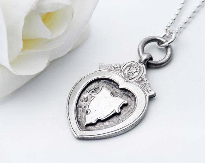 Antique Medal | Sterling Silver Heart Medallion | Edwardian Heart Shield | 1914 English Hallmark - 20 Inch Sterling Chain