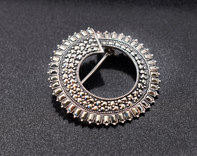 Vintage Sterling Silver Brooch | Marcasite Circle | Large Modernist 925 Silver Pin, Baguette Cut Stones - Scandinavian Design
