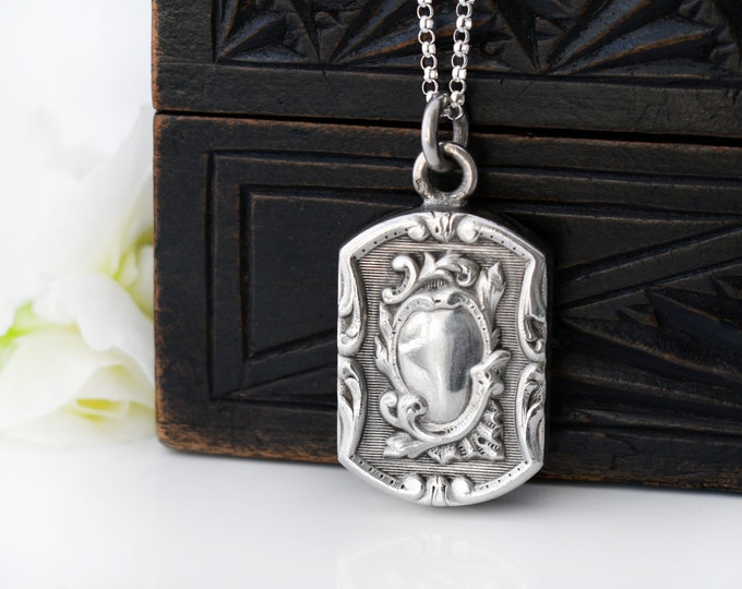 Sterling Silver Antique Fob Pendant | Ornate French Pendant | French Hallmark c.1900  - 20 Inch 925 Silver Necklace Chain