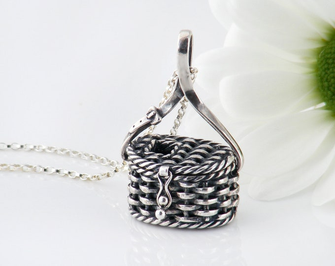 Vintage Sterling Silver Locket | Unusual and Very Cute Opening Fishing Basket Locket - 20 Inch Sterling Chain