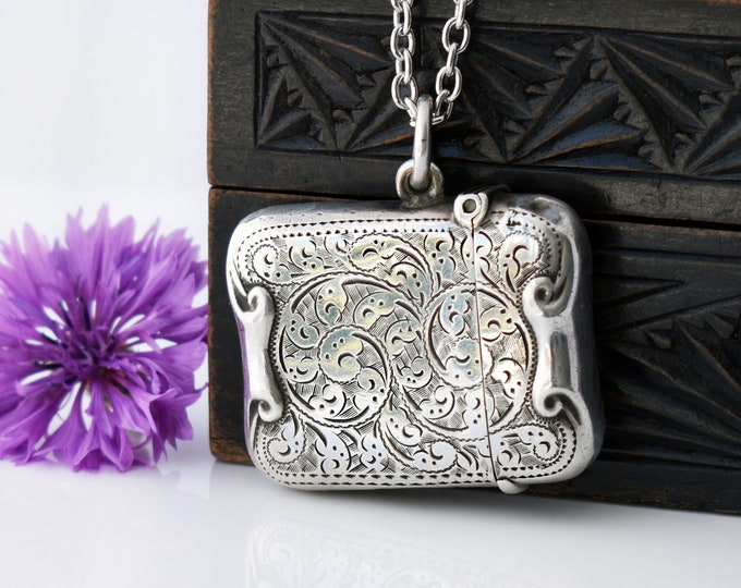 1898 Antique Vesta Case | Ornate Sterling Silver Victorian Match Safe Locket | English Hallmarks - 32 Inch Long Chain