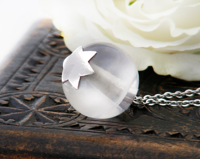 Antique Rock Crystal Pendant | Art Deco Pendant | Quartz Crystal Orb with Sterling Silver Star Caps - 24 Inch Chain