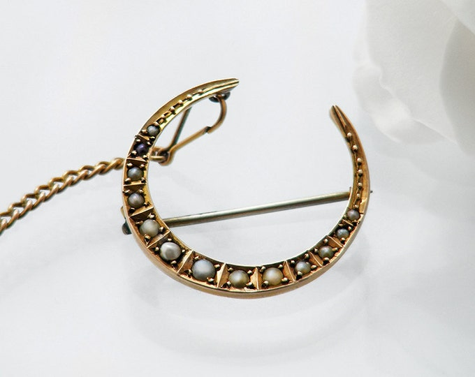 Edwardian Crescent Brooch | Graduated Seed Pearl Crescent Pin | English Hallmarked 9ct Gold Antique Brooch
