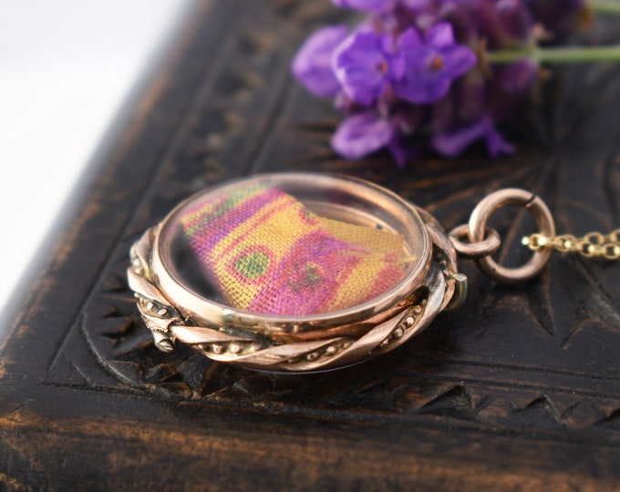 Antique Locket | Victorian Gold & Glass Memento Locket or Love Token | Hinged Back Opening - 20 Inch Chain