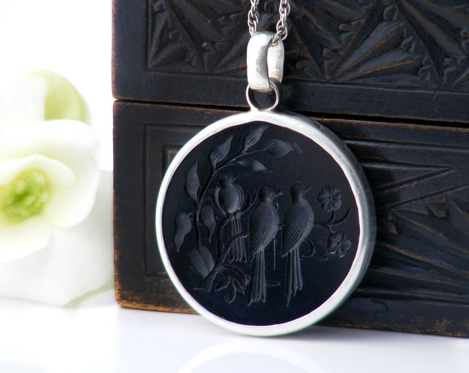 Black Intaglio Pendant, French Jet Birds on a Branch | Black Glass & Sterling Silver - 20 Inch Vintage Chain