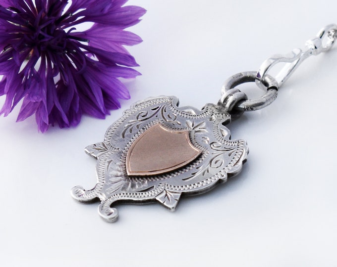 1903 Antique Medal | Edwardian Rose Gold & Hallmarked English Sterling Fob | Silver Shield Pendant- 20 Inch Chain with Charm Clip