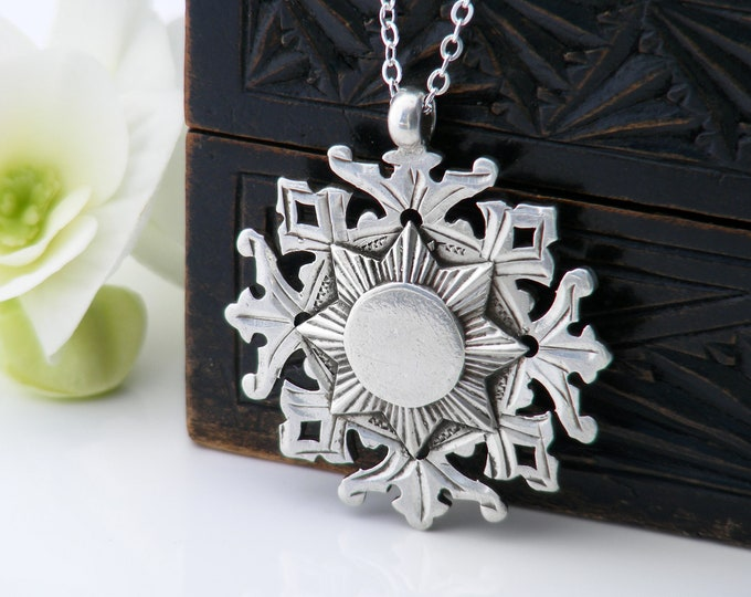 Sterling Silver Antique Medal | Victorian Snowflake Medallion | 1899 English Hallmark - 30 Inch Long Chain Necklace & Fob Clip