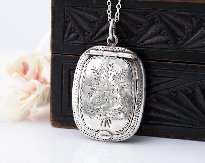Antique Locket | Sterling Silver Chatelaine Case | Forget-me-nots, 1923 English Hallmark, Adie & Lovekin - 20 Inch Chain