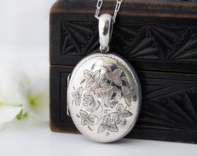 1882 Victorian Locket | Oval English Hallmarked Sterling Silver Antique Locket with Roses - 20 Inch Necklace Chain