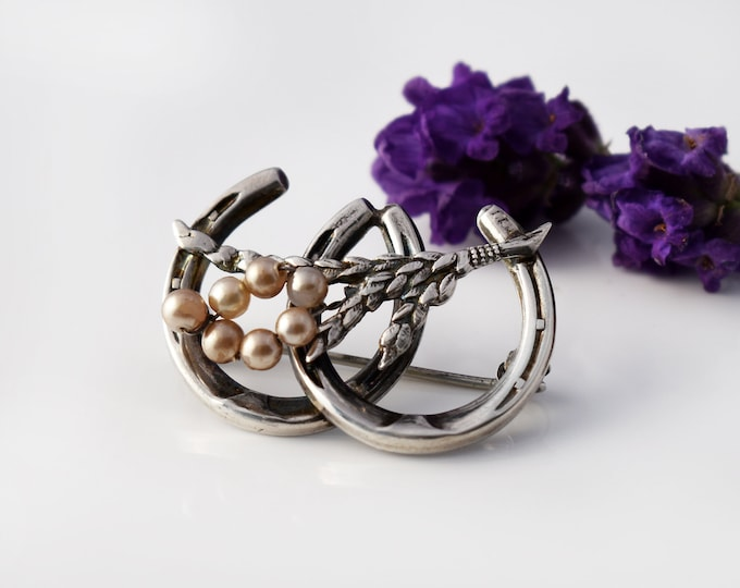 Antique Wedding Pin | Double Lucky Horseshoe Sterling Silver Brooch | Pearl Wheat Sheaf | Lucky Horseshoe Bouquet Pin - Something Old