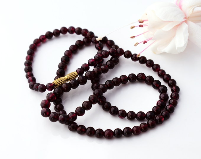 Vintage Garnet Bead Necklace | Polished Wine Red Gemstones | Natural Almandine Garnets - 22 Inches Long