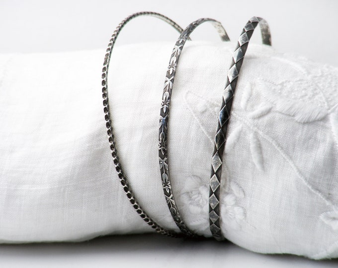 Set of 3 Vintage Silver Stacking Bangles | Oxidised Sterling Silver Victorian Revival Bracelets | Narrow Stacking Bangles 925 Silver
