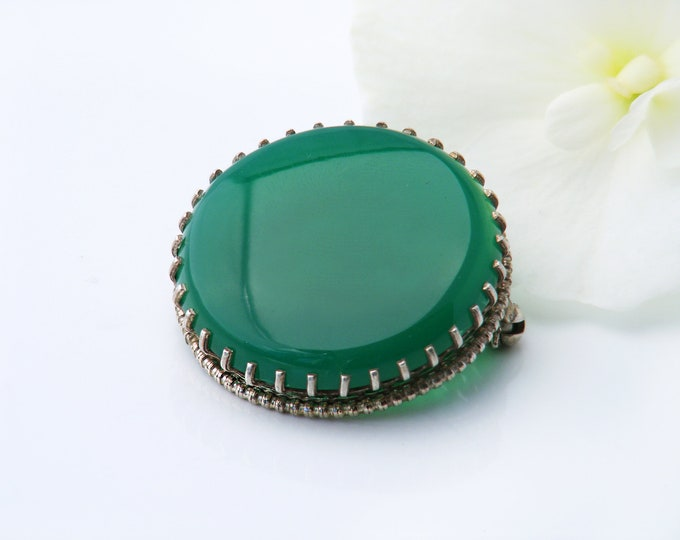 Large Antique Chrysoprase Brooch | 1920s Chrysoprase Sterling Silver Pin | Emerald Green Chrysoprase Cabochon - Shawl Pin