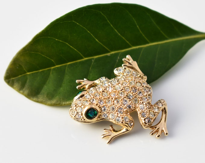 Vintage Frog Brooch   Pavé Crystal Gold Frog with Emerald Green Rhinestone Eyes - Figural Lapel Pin