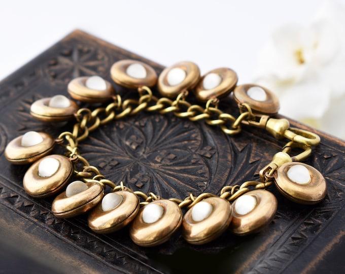 Vintage Brass Chain Bracelet | Glass Cabochons, Art Deco Streamline Moderne | Double Swivel Fob Clip Clasp - 7 inch Wrist Size