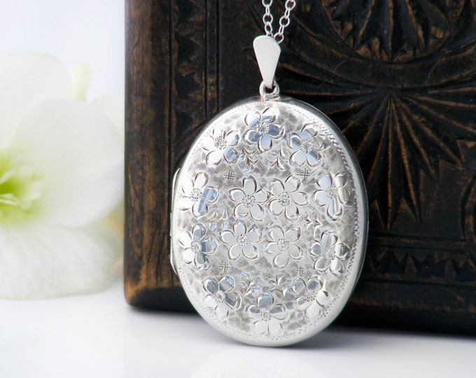 English Sterling Silver Vintage Locket | Large Oval Locket Necklace with Forget-Me-Not Flowers | 1967 Hallmarks - 30 Inch Sterling Chain