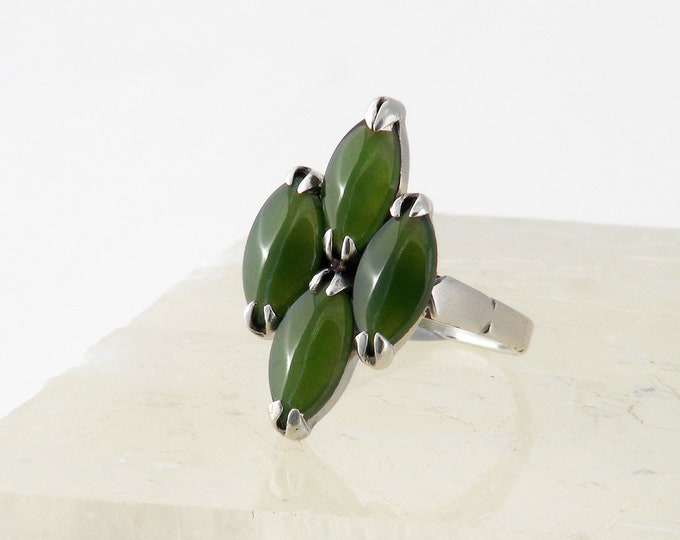 Vintage Nephrite Jade Ring | Sterling Silver with Four Jade Cabochons | Small Ring - US Ring Size 4 1/2, UK Ring Size I 1/2