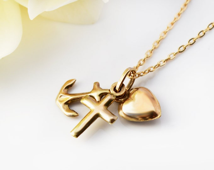 Dainty Vintage 10ct Gold Charm Necklace | Solid Gold Faith, Hope & Charity Charms | Romantic Heart, Cross and Anchor - 20 Inch Chain