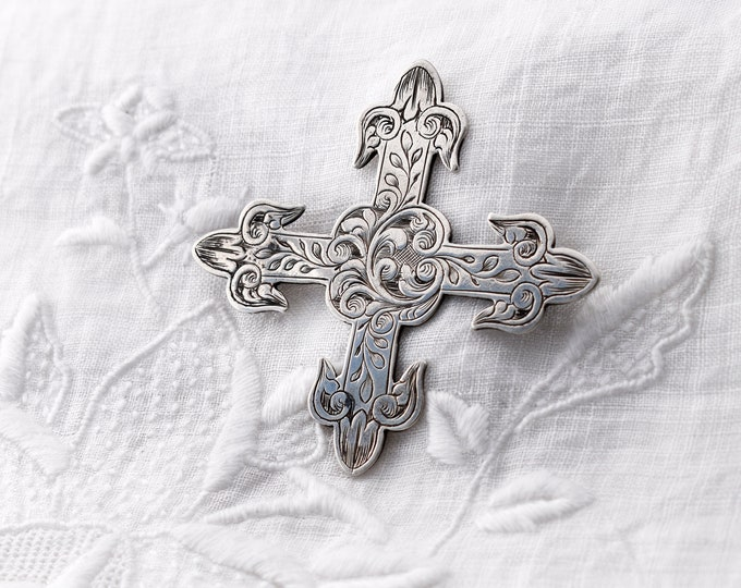 Victorian Sterling Silver Cross Brooch or Pendant | Ornately Engraved Gothic Revival Cross | Equal Sided Cross