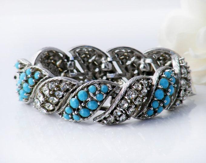 Vintage Diamante & Turquoise Bracelet | 1950s Statement Cuff | Chunky, Dramatic Rhinestone Evening Bracelet - 7 inches Long