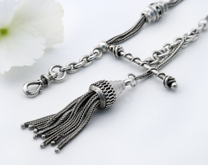 Sterling Silver Albertina Watch Chain | Antique Victorian Fob Tassel with T-bar | French Hallmarked Silver - 13.5 Inch Long Chain & Clip