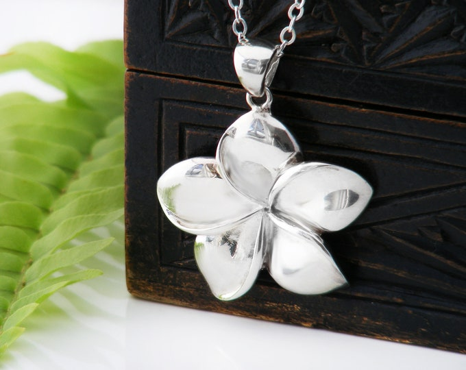 Vintage Sterling Silver Frangipani Pendant   925 Silver Plumeria Tropical Flower - 20 Inch Sterling Chain