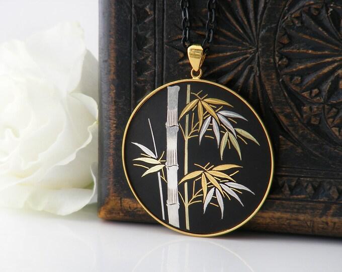 Vintage Japanese Damascene Pendant | Black, Silver and Gold Bamboo Design | Amita Jewelry - 33 Inch Long Black Chain