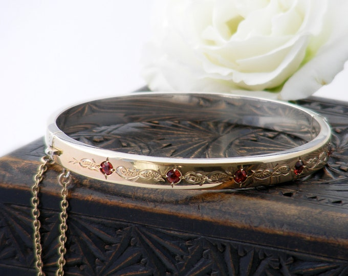 Vintage Engraved Gold & Garnet Bracelet | 9ct Rolled Gold over Sterling Silver Hinged Snap Bracelet - Medium Size