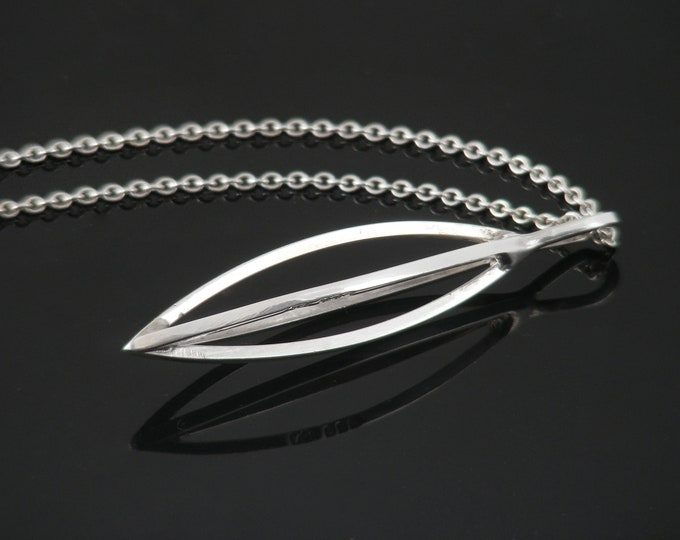 Vintage Sterling Silver Modernist Pendant | 1973 Hallmarked Silver - 18 Inch Vintage Necklace Chain