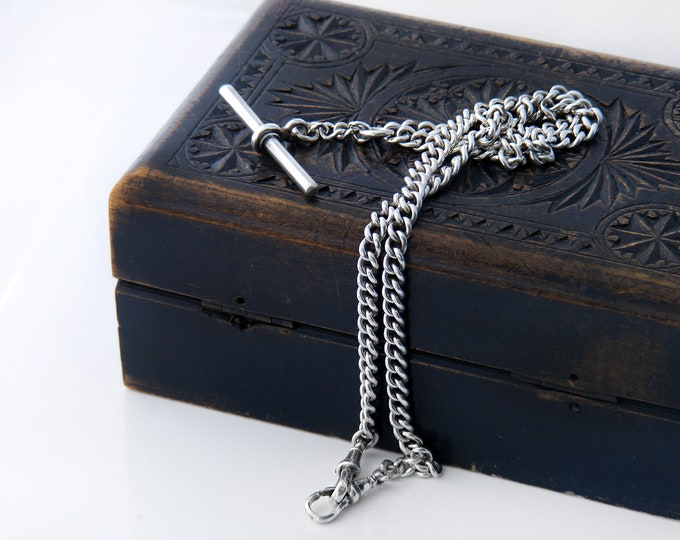 Long Antique Sterling Silver Fob Chain | 1897 Hallmarked English Silver | Victorian Double Albert Chain - 20 Inches Long